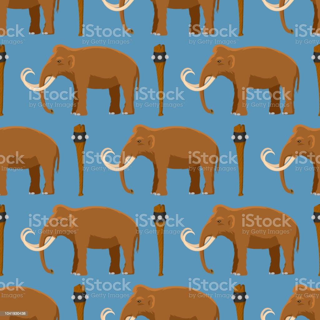 Caractère d animaux de mammifère vecteur mammouth avec tusk et tronc  antique stoneage illustration d 5e795f657a1