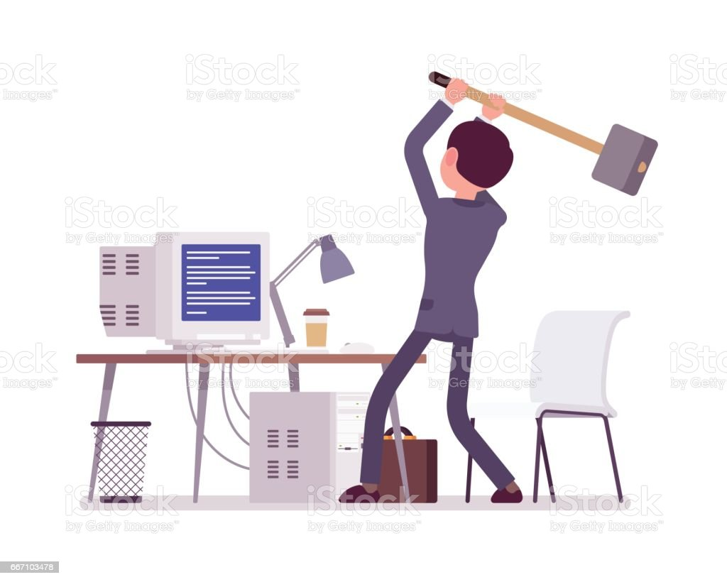 Man about to crash computer with Blue Screen of Death vector art illustration