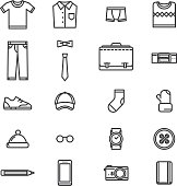 Man accessories simple lineart icons