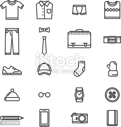 Man Accessories Simple Lineart Icons Stock Vector Art
