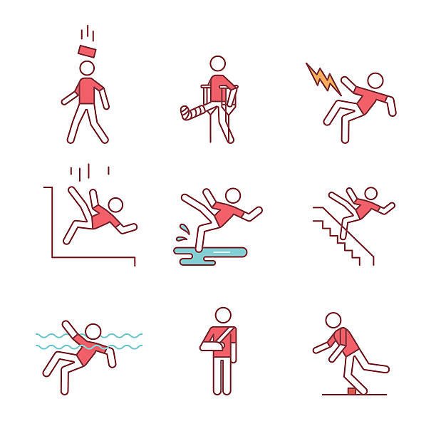 Man accident and traumas safety sign set vector art illustration