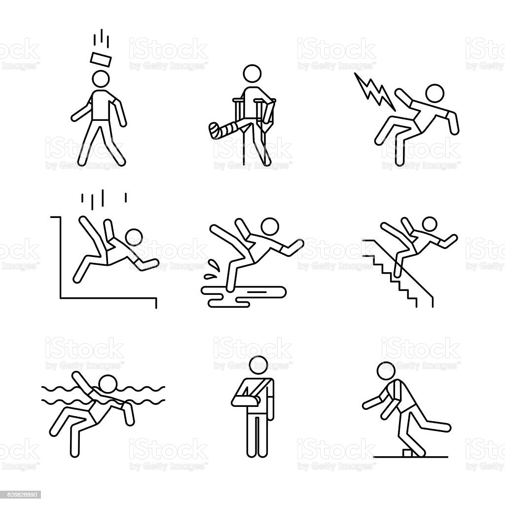 Man accident and traumas safety sign set