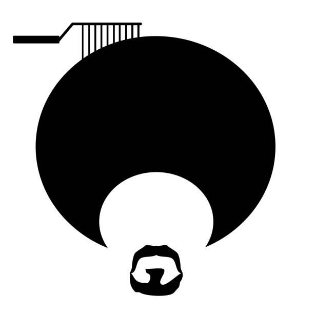 man afro comb vector art illustration