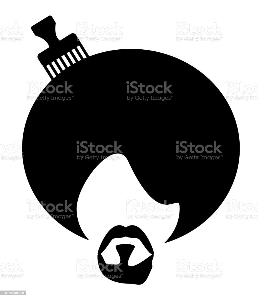 man afro vector art illustration