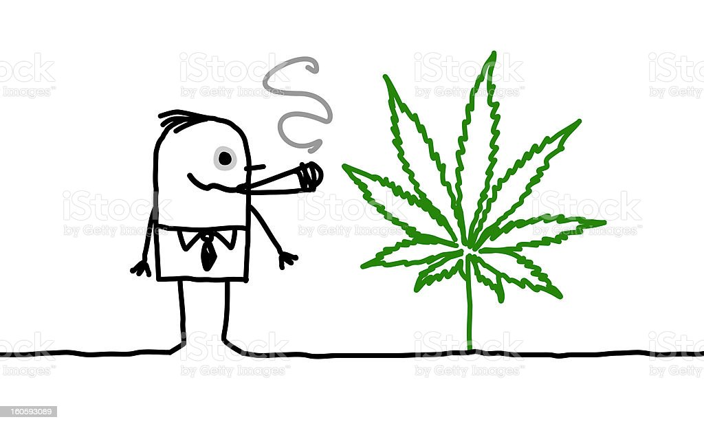 man & cannabis royalty-free stock vector art