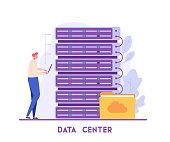 Man analyzing data with web hosting. Big data engineering. Concept of data center, cloud storage, internet server. Vector illustration in flat design for UI, banner, mobile app