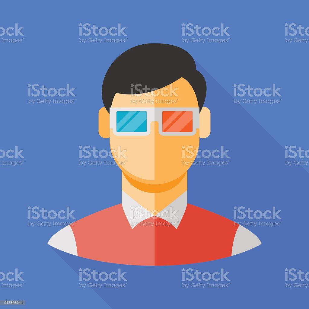 man and 3d glasses icon with long shadow. flat illustration – Vektorgrafik