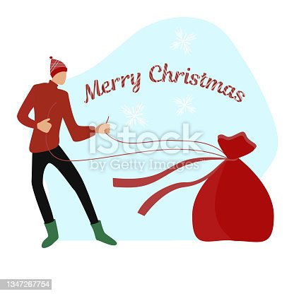 istock man and a bag of gifts 1347267754