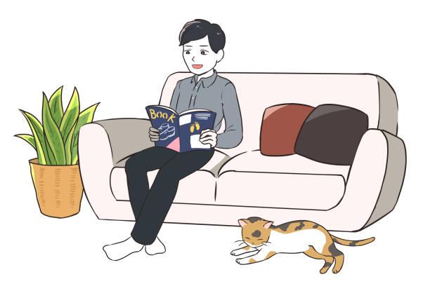 笑顔でくつろげる男と猫 ベクターアートイラスト