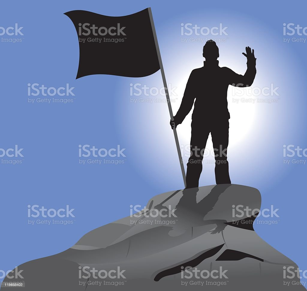 A man and a flag on a rock to depict victory royalty-free stock vector art