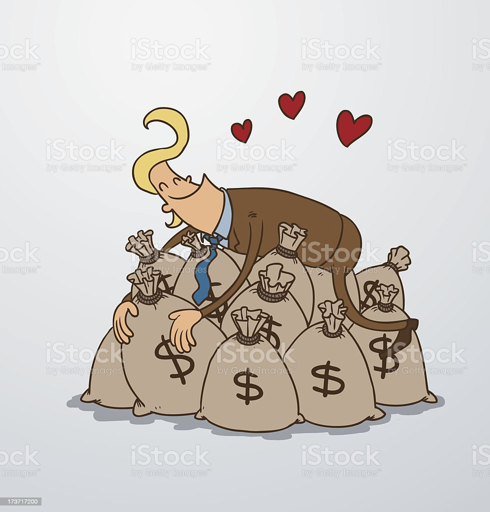 Man and a lot of money bags royalty-free stock vector art