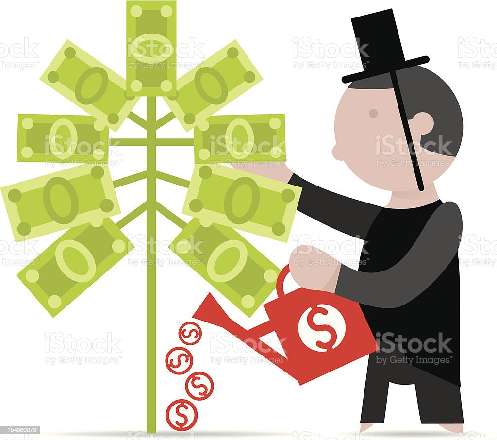 man and a money tree royalty-free stock vector art
