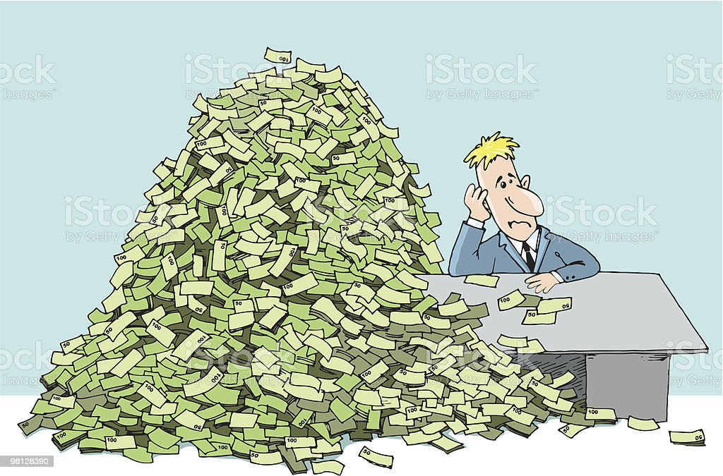 man (bank employee) and a mountain of money royalty-free man and a mountain of money stock vector art & more images of abundance