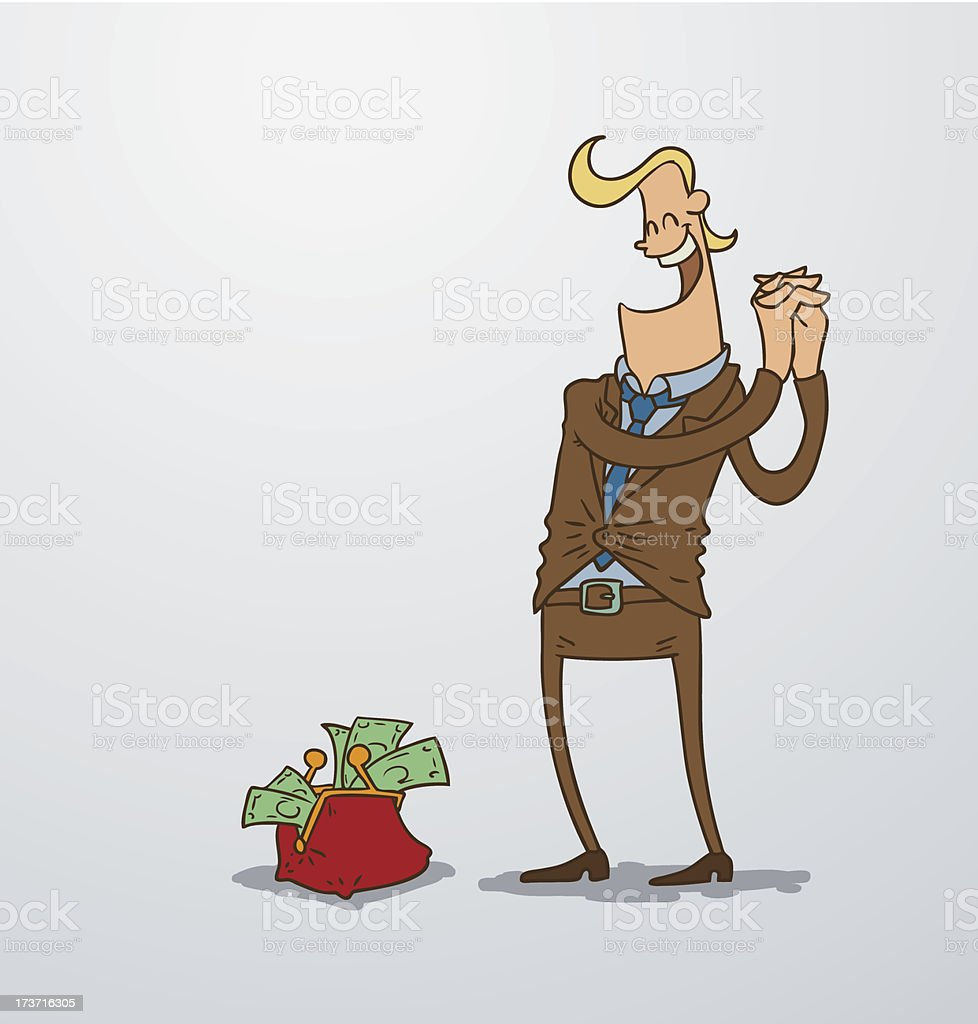 Man and a wallet with money royalty-free stock vector art
