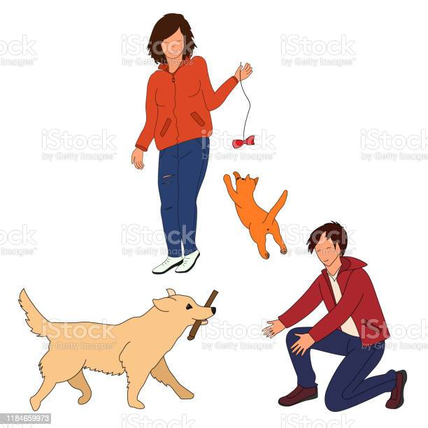 Man and a woman a dog and a cat on a white background vector id1184659973?b=1&k=6&m=1184659973&s=612x612&h=sq2rffgcua1gwt4bq2mmgdjzditwftqqm7 d pjvqco=