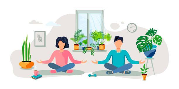 illustrazioni stock, clip art, cartoni animati e icone di tendenza di un uomo e una donna sono seduti in una posa meditativa a casa verde. - woman portrait forest