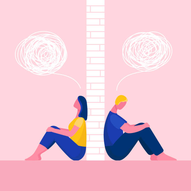 A man and a woman in a quarrel.The couple sit back to back.Problems in relationships, conflicts.Husband and wife at odds.Wall between them.Flat vector illustration A man and a woman in a quarrel.The couple sit back to back.Problems in relationships, conflicts.Husband and wife at odds.Wall between them.Flat vector illustration arguing stock illustrations
