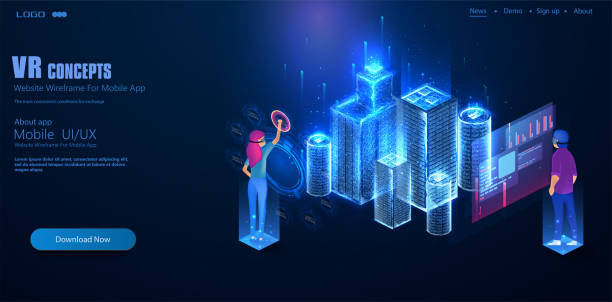 a man and a woman in augmented reality glasses are designing a city. work with 3d models of the city in a low-poly frame type. people use virtual reality to model the city of the future. - wire frame model stock illustrations