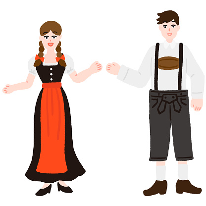 A man and a woman in German national costume, Deirdre and Lederhosen