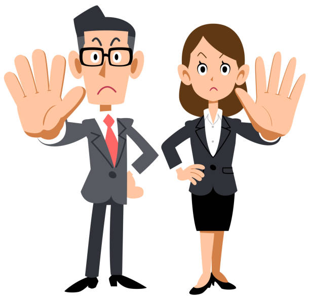 A man and a woman of an office worker who poses a refusal A man and a woman of an office worker who poses a refusal rejection stock illustrations