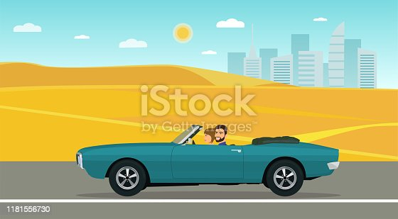 A man and a woman ride in a classic convertible car along the desert road. Vector flat style illustration.