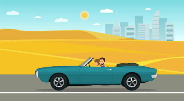 A man and a woman ride in a classic convertible car along the desert road. Vector flat style illustration. A man and a woman ride in a classic convertible car along the desert road. Vector flat style illustration. convertible stock illustrations