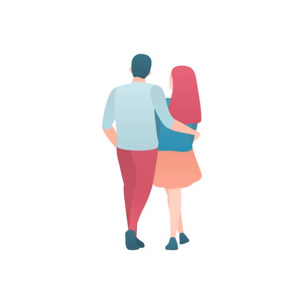 Ein Mann und eine Frau gehen isoliert auf einer weißen flachen Illustration – Vektorgrafik