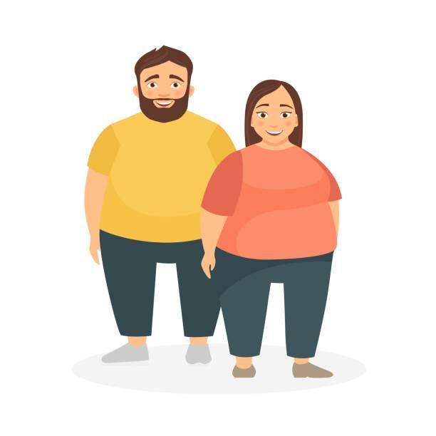illustrazioni stock, clip art, cartoni animati e icone di tendenza di a man and a woman with obesity. - obesity