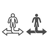 Man and arrow in two directions line and solid icon, business strategy concept, decision making sign on white background, businessman choosing way icon outline style for mobile, web. Vector graphics
