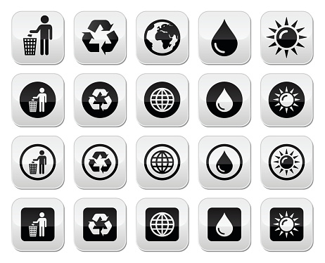 Man and bin, recycling, globe, eco power buttons set