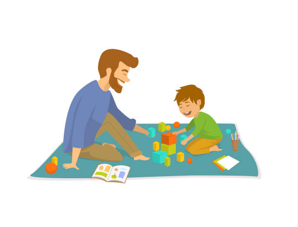 ilustrações, clipart, desenhos animados e ícones de homem e menino, baralho de pai e filho no chão em casa desenvolvendo jogos - pai e filho
