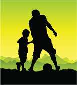 A man plays soccer with a child. Each person is in full and on a different layer.