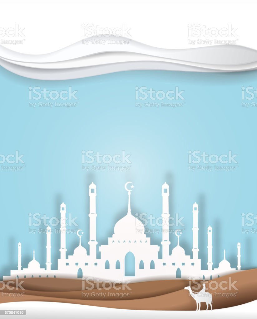 man and camel front of Masjid blue background  vector paper art. paper cut  cute illustration vector art illustration