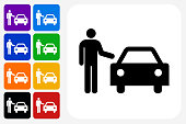 Man and Car Icon Square Button Set. The icon is in black on a white square with rounded corners. The are eight alternative button options on the left in purple, blue, navy, green, orange, yellow, black and red colors. The icon is in white against these vibrant backgrounds. The illustration is flat and will work well both online and in print.