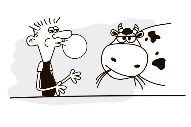 mensch und kuh. vektor. - lustige kuh bilder stock-grafiken, -clipart, -cartoons und -symbole