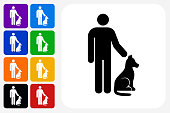 Man and Dog Icon Square Button Set. The icon is in black on a white square with rounded corners. The are eight alternative button options on the left in purple, blue, navy, green, orange, yellow, black and red colors. The icon is in white against these vibrant backgrounds. The illustration is flat and will work well both online and in print.