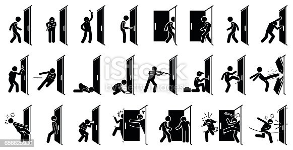Cliparts depict various actions of a man with a door.