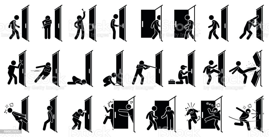 Man and Door Pictogram. vector art illustration