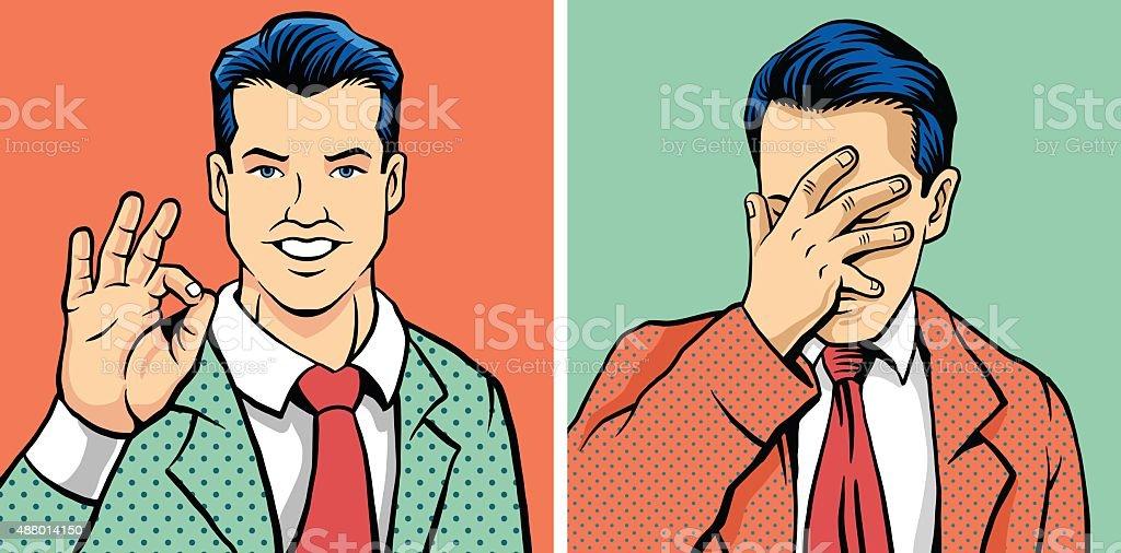 OK man and facepalm man. Vector illustration set vector art illustration