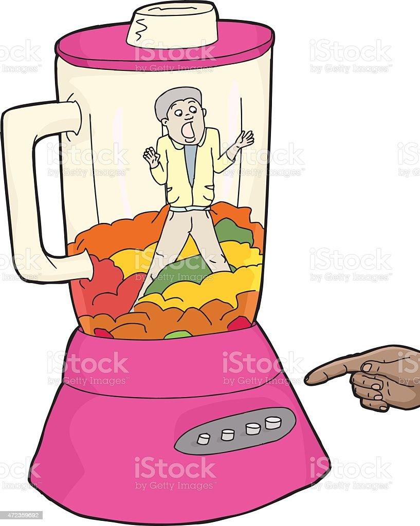 Man and Food in Pink Blender vector art illustration