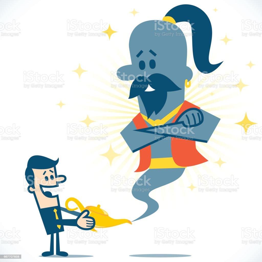 Homme Et Genie Geant Dans La Lampe Magique Cliparts Vectoriels Et