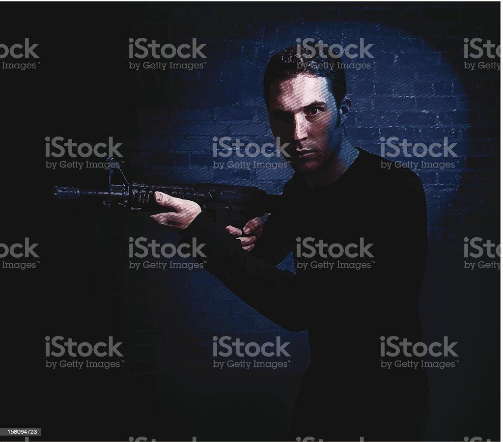 Man and Gun vector art illustration