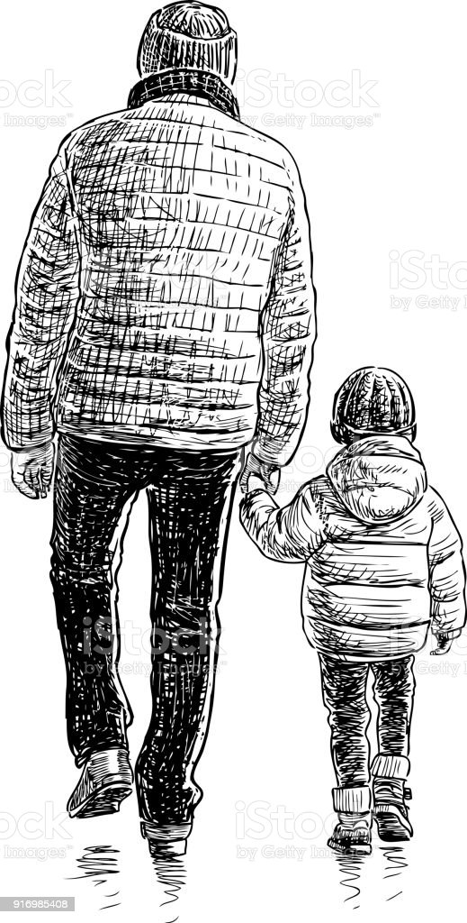 A man and his child go on a walk vector art illustration