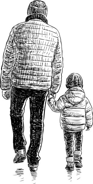Ein Mann und sein Kind gehen spazieren – Vektorgrafik