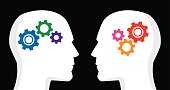 Vector illustration of two profiles with gears inside their heads. One has cool / blue colored gears, the other has hot / red colored gears.