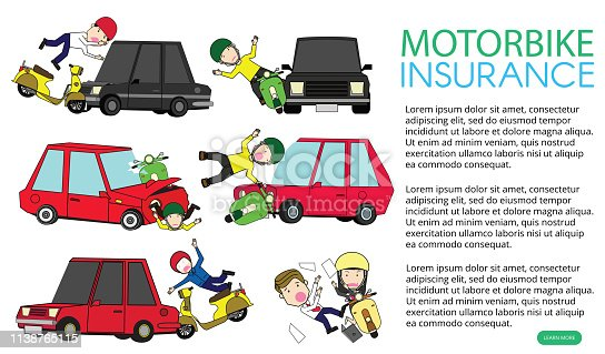 motorcycle accident with private car. Flat vector illustration design.