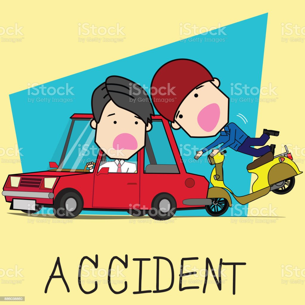 Man and motorcycle collide with back of car vector art illustration