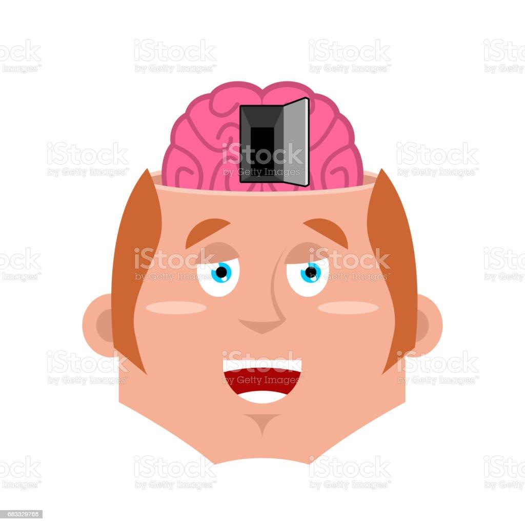 Man en open deur naar de hersenen. Illustratie van de psychologie. NLP concept royalty free man en open deur naar de hersenen illustratie van de psychologie nlp concept stockvectorkunst en meer beelden van bedrijfsleven
