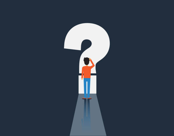 man and question mark, man in front of question mark, vector illustration vector art illustration