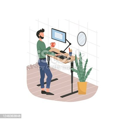 istock Man and remote working from home on computer 1246363848